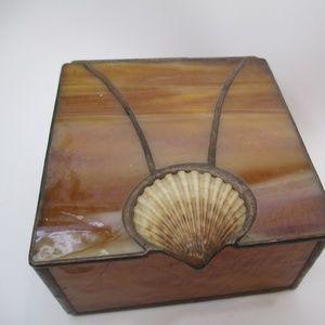 VTG Stained Glass Trinket Jewelry Box